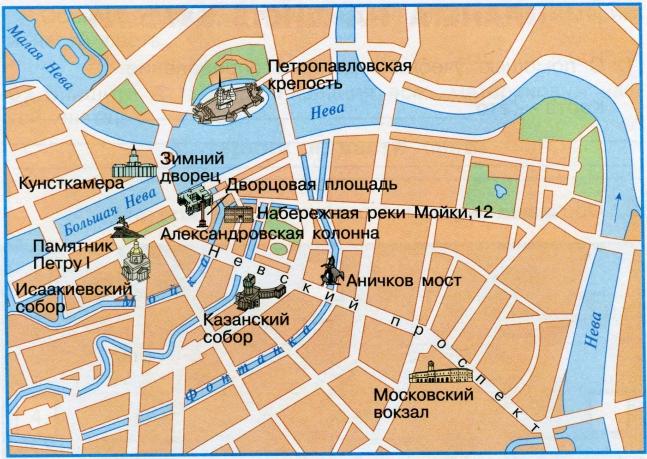 План центральной части Санкт-Петербурга