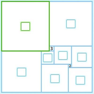 Найди стороны всех квадратов, если сторона самого маленького равна 2