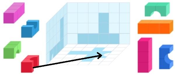 Башня из цветных кубиков (шаг 1)