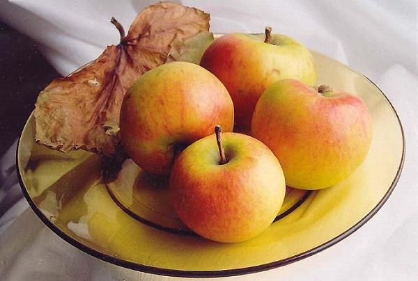 4 яблока на тарелке