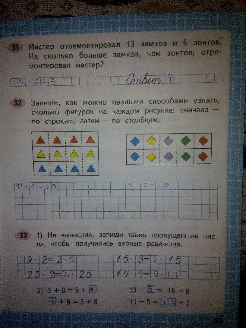 Домашние задания математика 2 класс Моро Волкова