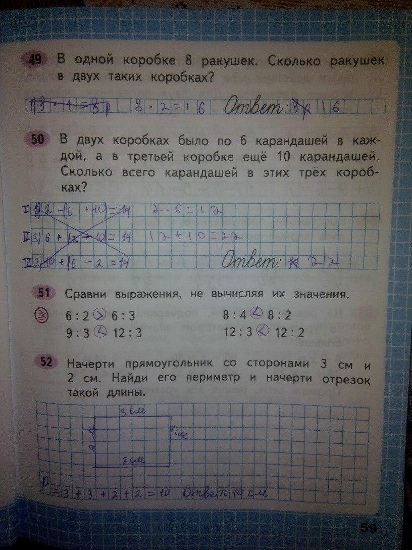 Математика 2 класс Школа России домашние задание