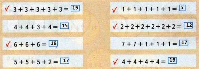 Отмеченные суммы одинаковых слагаемых