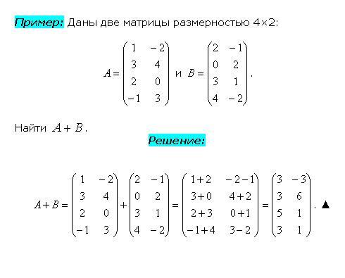 Нахождение суммы матриц