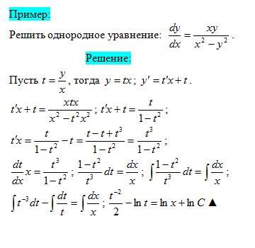 Примеры решений однородных дифференциальных уравнений