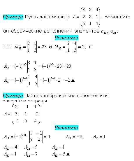 Пример нахождения алгебраического дополнения