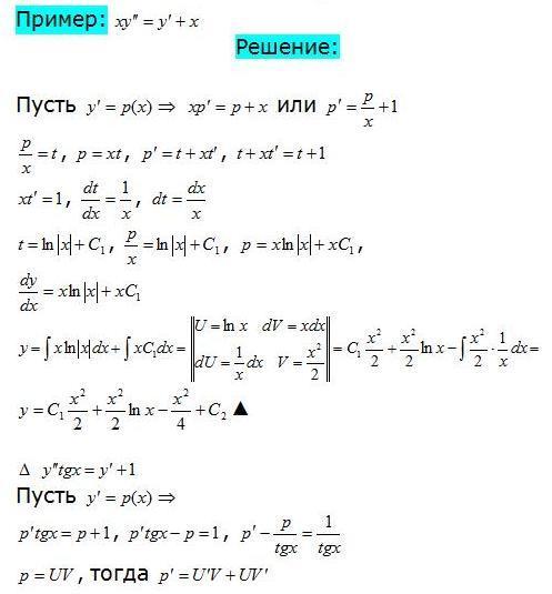 Решение дифференциальных уравнений 2 порядка