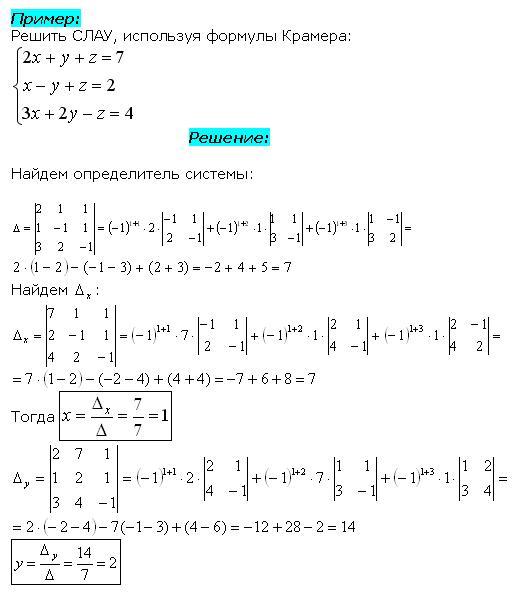 Решение методом Крамера