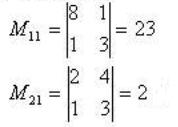 Нахождение минора к элементу матрицы