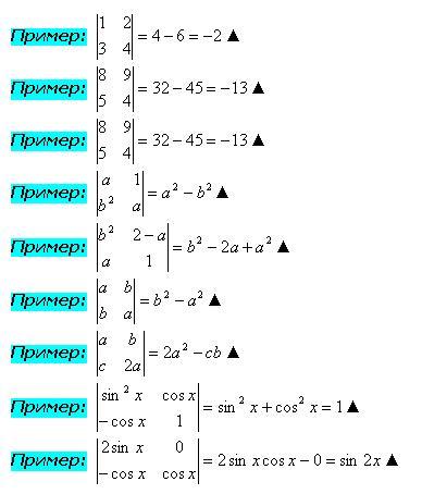Вычисление определителя 2 порядка