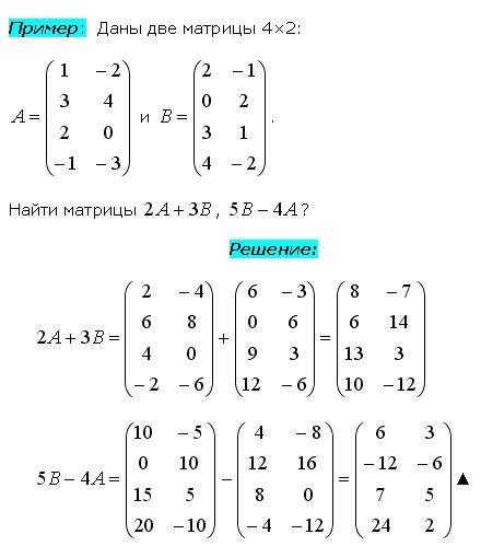 Пример умножения матрицы на число
