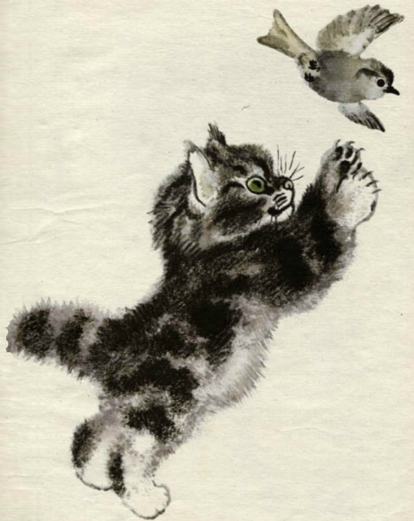 Тюпа птицу ловит