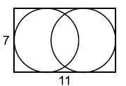 Две одинаковые окружности в прямоугольнике