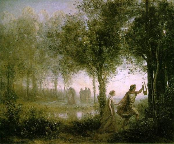 «Орфей, выводящий Эвридику из царства мёртвых» — Жан-Батист Камиль Коро, 1861