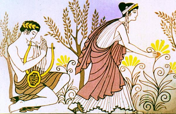 Эвридика и Орфей в лесу
