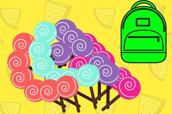 4 вида конфет в рюкзаке