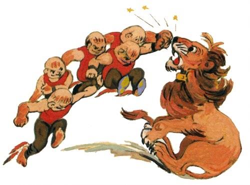 Лев бросился в атаку