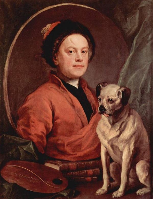 Автопортрет с собакой - Уильям Хогарт
