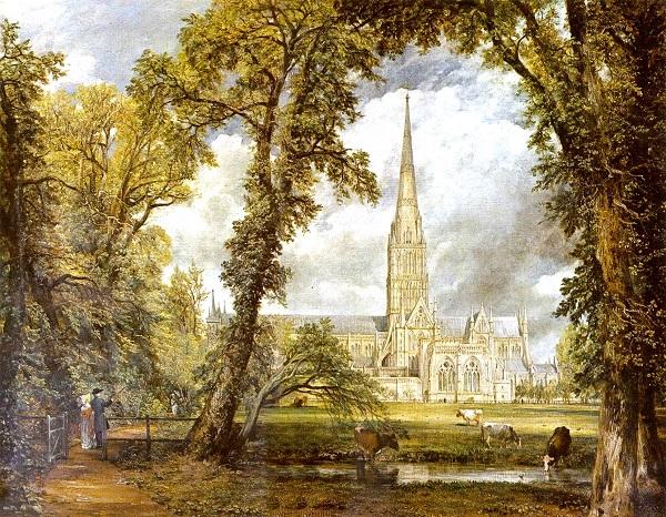 Вид на собор Солсбери из епископского сада
