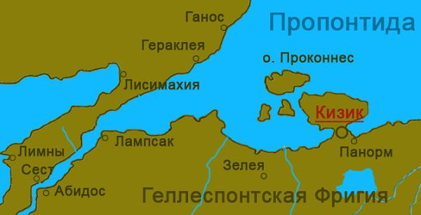 Город Кизик на карте