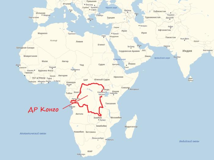 ДР Конго на карте
