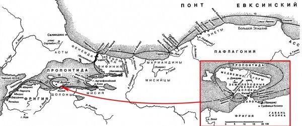 Кизик на карте