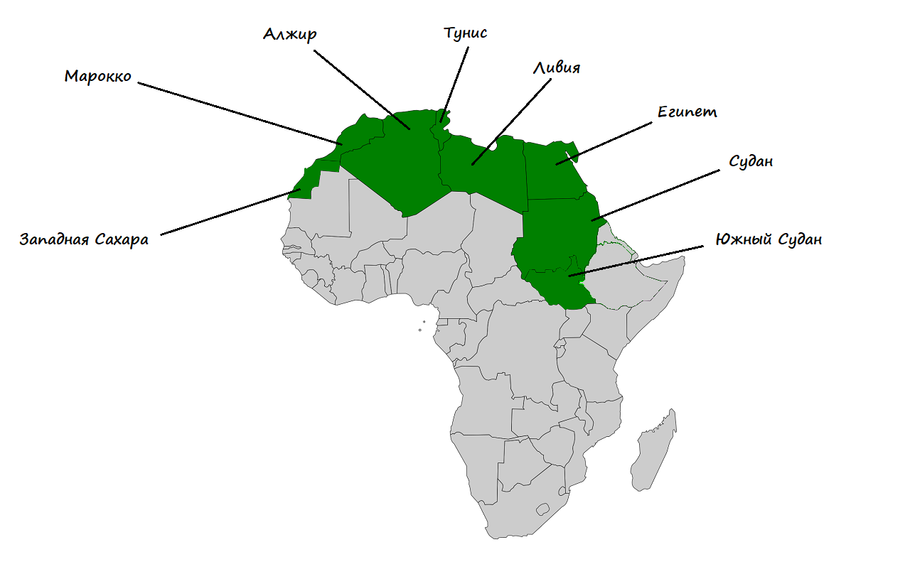 среди континентов африка занимает место