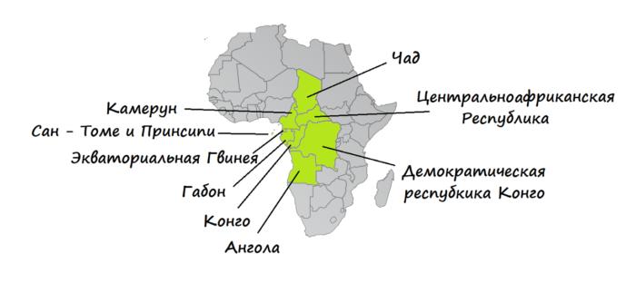 Страны Центральной Африки на карте
