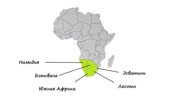 Страны Южной Африки на карте