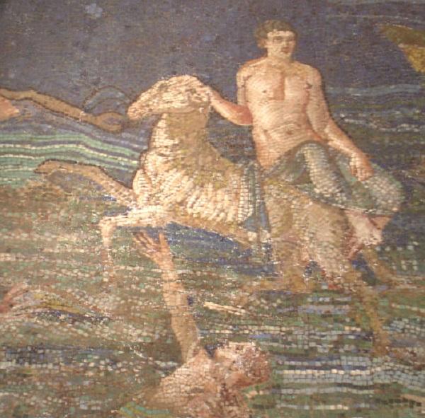 Фрикс и Гелла. Античная мозаика