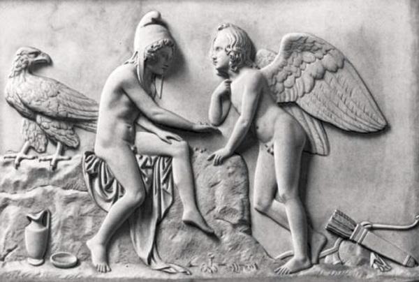 Эрот и Ганимед - Рельефы скульптора Б. Торвальдсена (Дания) - 1831 г