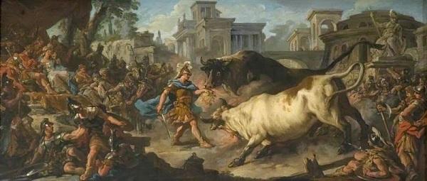 Ясон укрощает быков Ээта - Жан Франсуа де Труа - 1742-1743