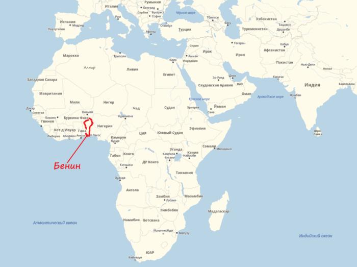 Бенин на карте