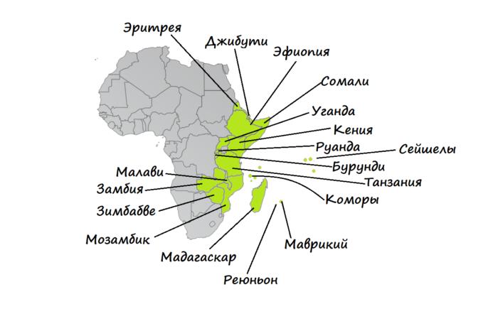 Восточная Африка на карте