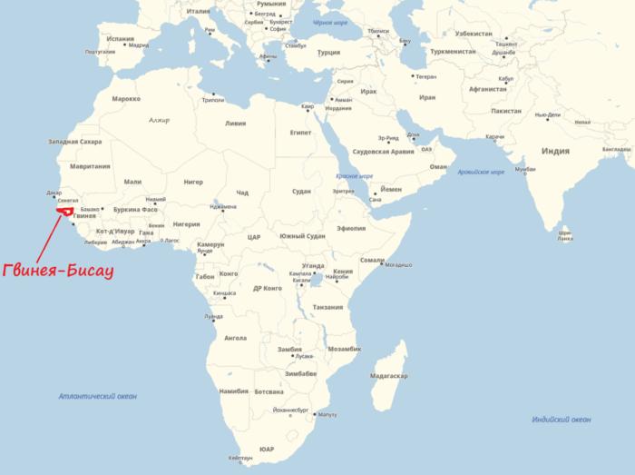 Гвинея — Бисау на карте