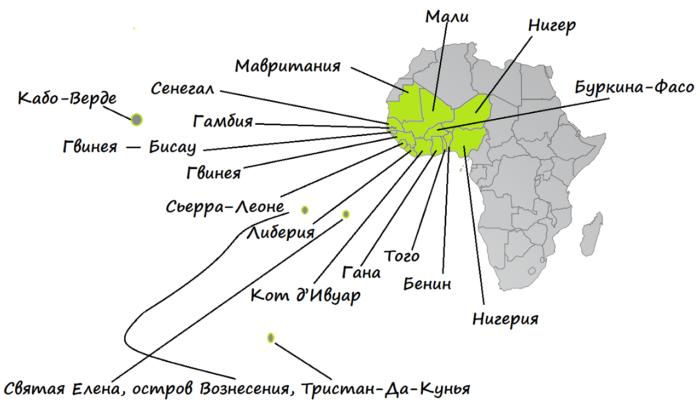 Западная Африка на карте