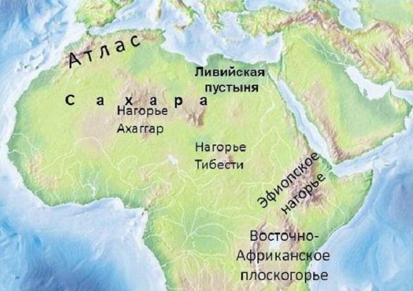 Ливийская пустыня на карте