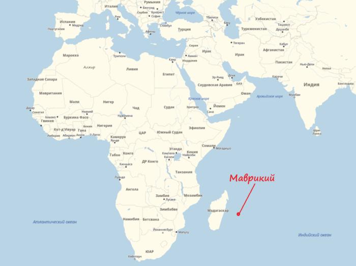 Маврикий на карте