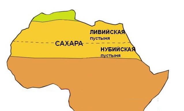 Нубийская пустыня на карте