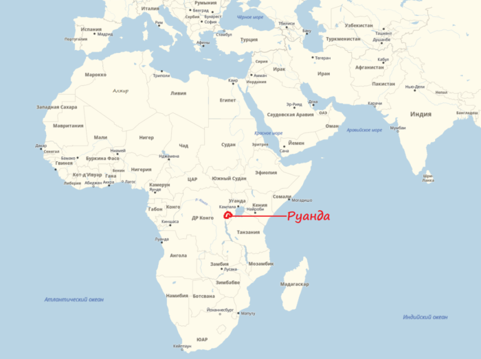 Руанда на карте