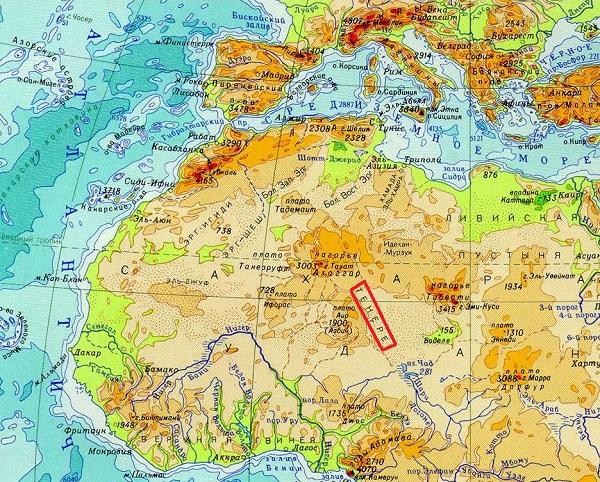 Тенере на карте