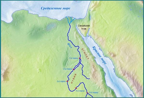 Нил на карте
