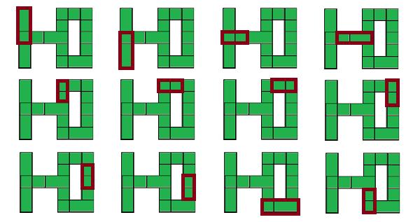 12 двойных прямоугольников