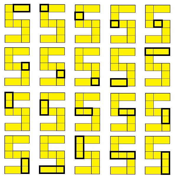 20 прямоугольников в фигуре