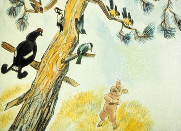 Икар просит птиц дать ему по перышку