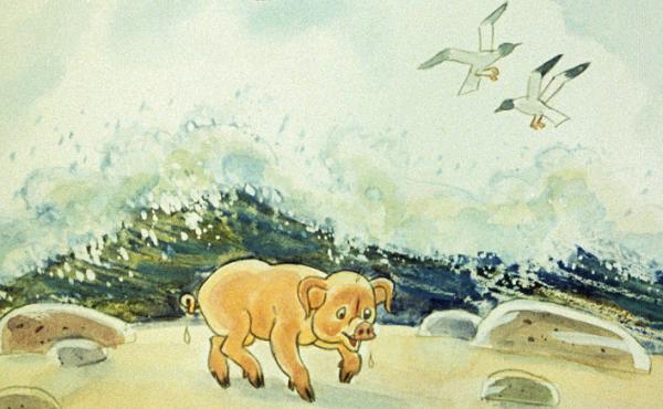 Поросенок доплыл до берега
