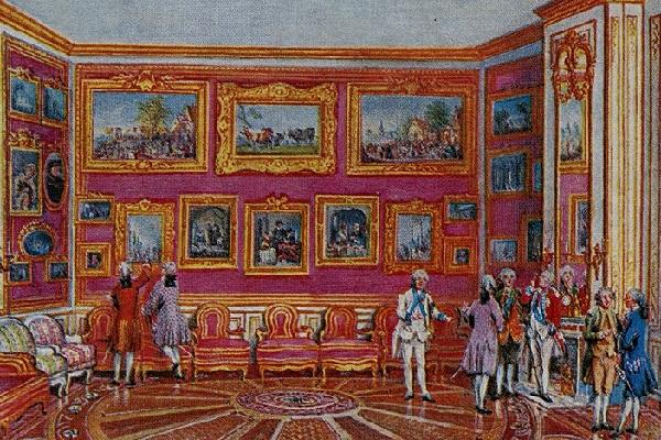 Миниатюра Луи-Николя Ван Бларенберга, на которой представлена часть картинной галереи Кроза