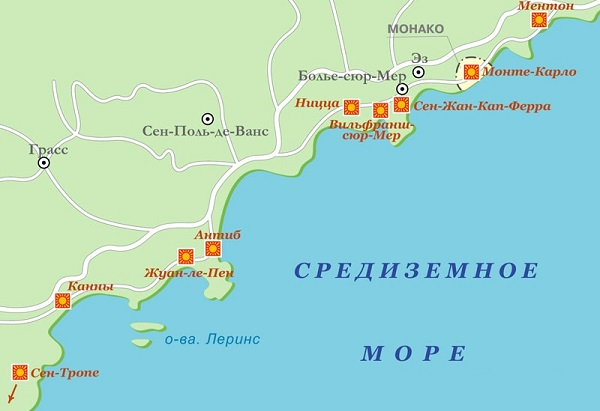 Лазурный берег на карте