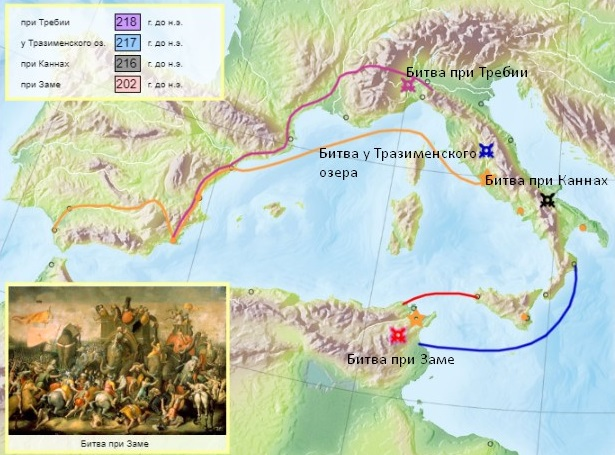 Важнейшие битвы Второй Пунической войны