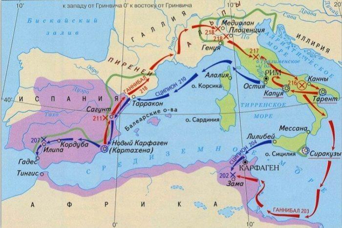 Вторая Пуническая война на карте
